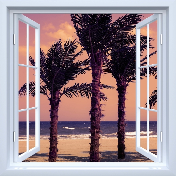 Fototapeta winylowa Okno białe otwarte - Palmy - Imitacje