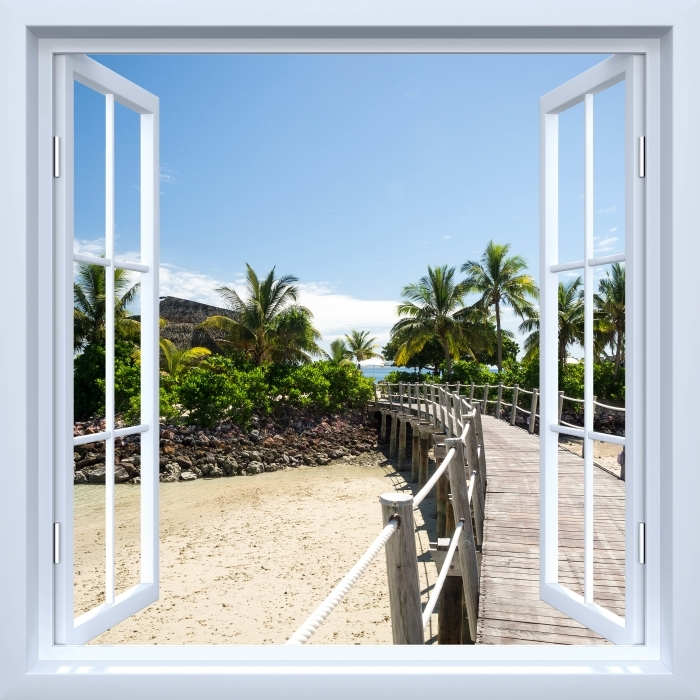 Fototapeta winylowa Okno białe otwarte - Wzdłuż mostu - Widok przez okno