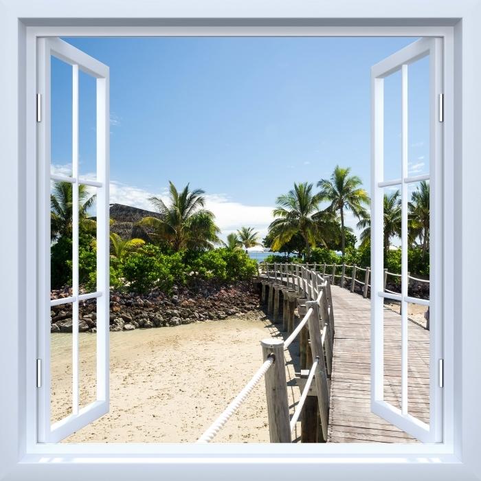 Papier peint vinyle Fenêtre ouverte blanche - le long du pont - La vue à travers la fenêtre