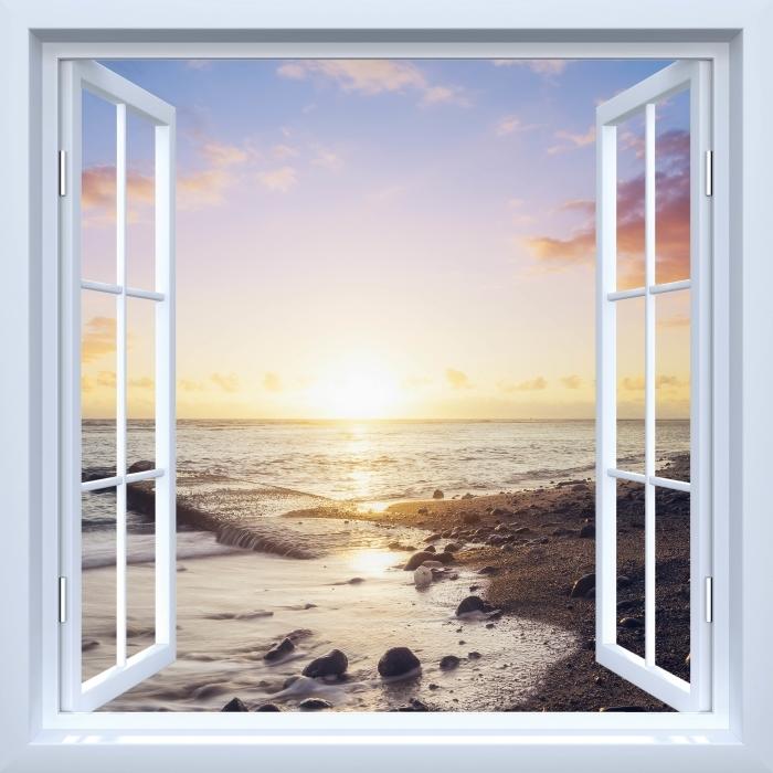 Papier peint vinyle Fenêtre ouverte blanche - Coucher de soleil sur la plage - La vue à travers la fenêtre