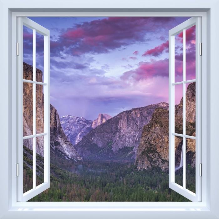 Papier peint vinyle Fenêtre ouverte blanche - Parc national de Yosemite - La vue à travers la fenêtre