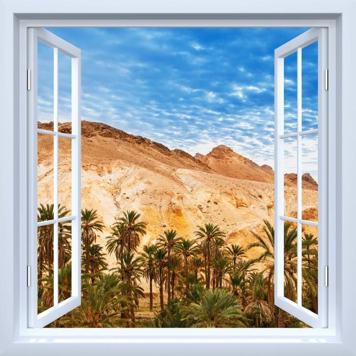 Vinyl-Fototapete Weiß Fenster geöffnet - Bergoase - Blick durch das Fenster