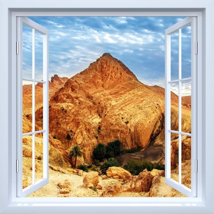Papier peint vinyle Fenêtre ouverte blanche - oasis de montagne - La vue à travers la fenêtre