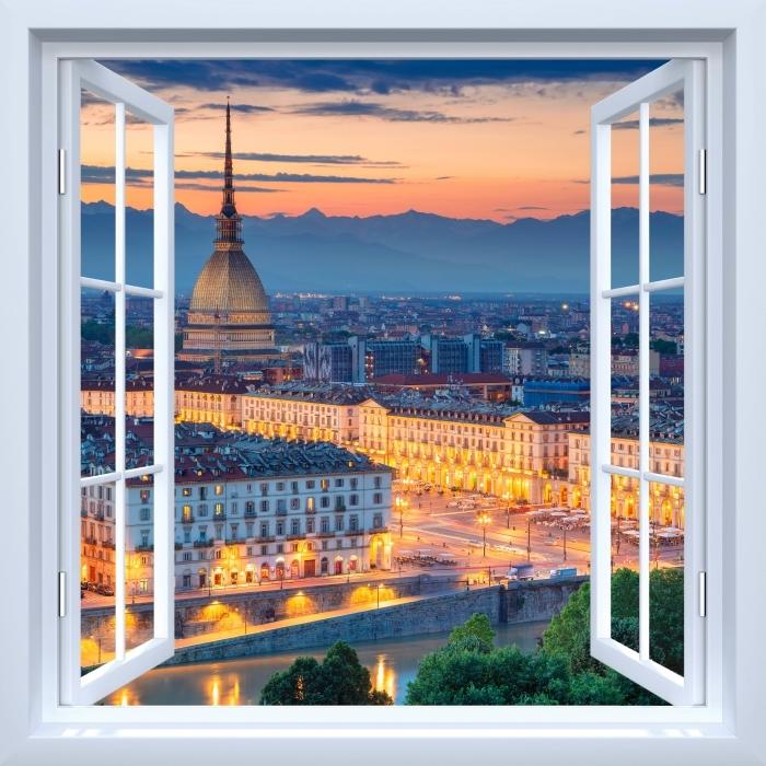 Vinyl-Fototapete Weiß offenes Fenster - Turin. Sonnenuntergang. - Blick durch das Fenster