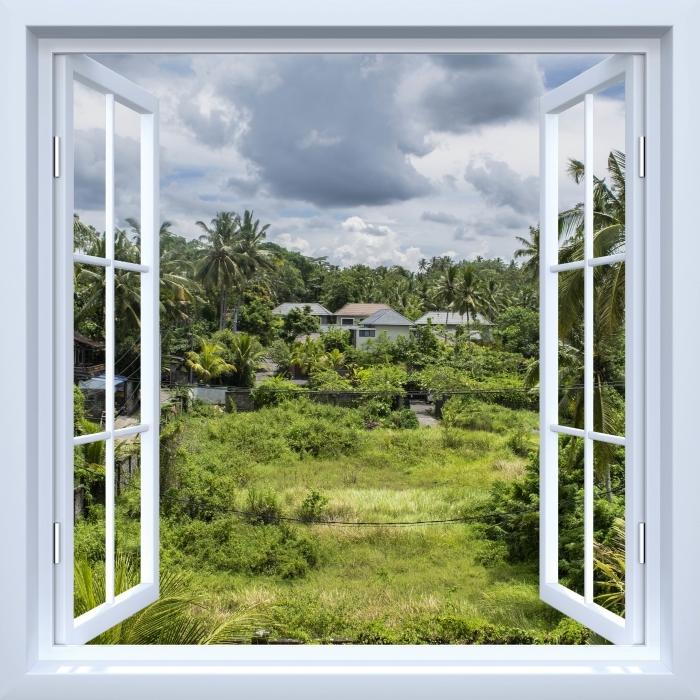 Papier peint vinyle Fenêtre ouverte blanche - Rice Field - La vue à travers la fenêtre