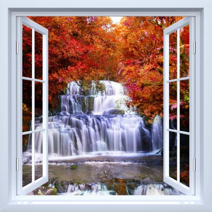 Fototapeta winylowa Okno białe otwarte - Wodospad w dżungli. Nowa Zelandia - Widok przez okno