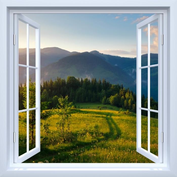 Fototapeta zmywalna Okno białe otwarte - Górskie doliny - Widok przez okno
