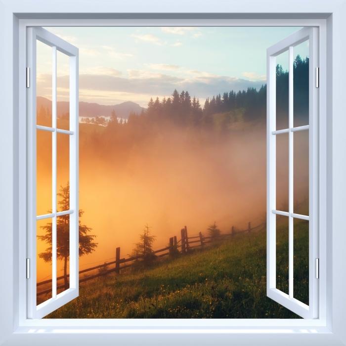 Fototapeta winylowa Okno białe otwarte - Górskie doliny podczas wschodu słońca - Widok przez okno