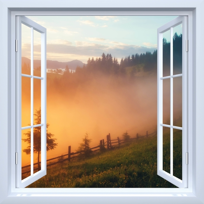 Papier peint vinyle Fenêtre ouverte blanche - vallée de montagne au lever du soleil - La vue à travers la fenêtre