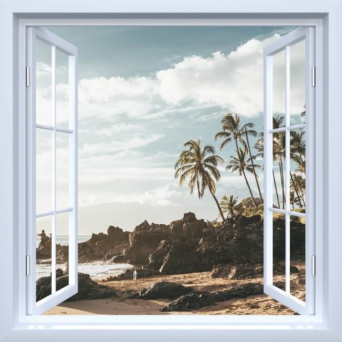 Fototapeta winylowa Okno białe otwarte - Palmy. Hawaje. - Widok przez okno