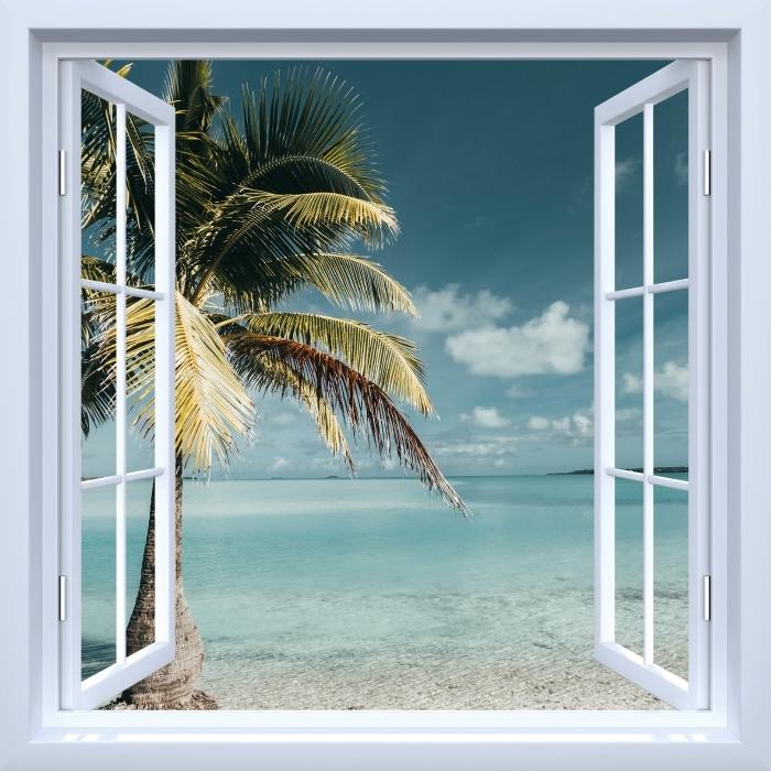 Papier peint vinyle Fenêtre ouverte blanche - cuisine arbre Palm Island - La vue à travers la fenêtre