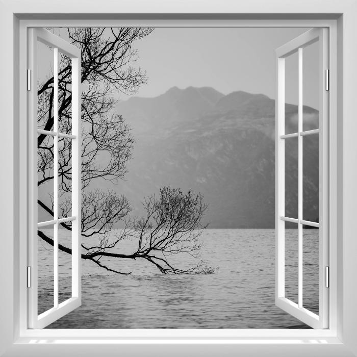 Vinyl Fotobehang White open raam - Landschap. nieuw-Zeeland - Uitzicht door het raam