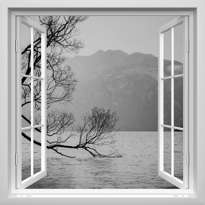 White open window - Landscape. New Zealand Vinyl Wall Mural - View through the window