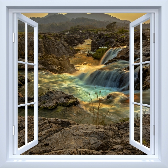 White open window - Waterfall Vinyl Wall Mural - View through the window