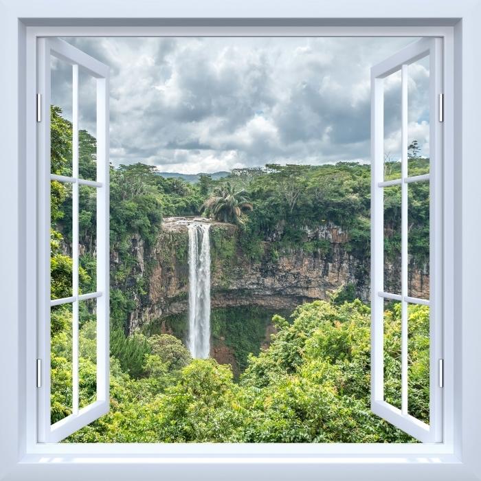 Papier peint vinyle Fenêtre ouverte blanche - Cascade - La vue à travers la fenêtre