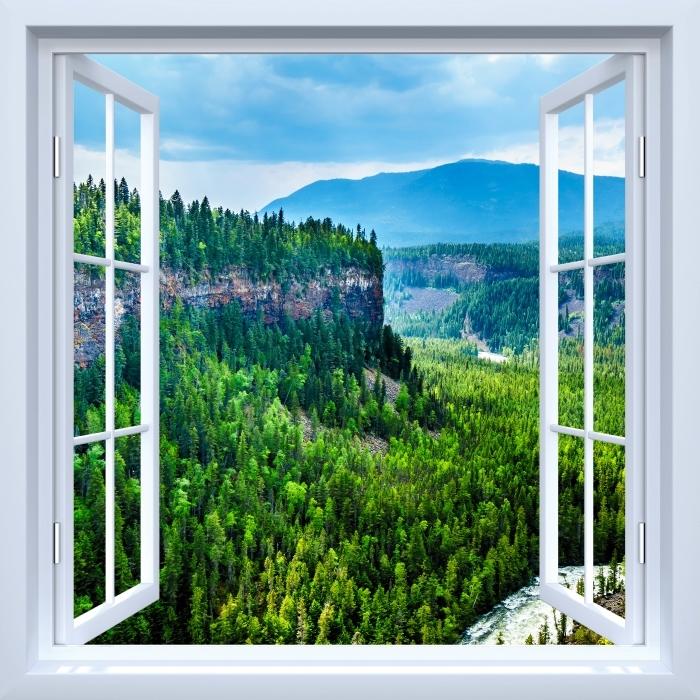 Fototapeta winylowa Okno białe otwarte - Kolumbia. - Widok przez okno