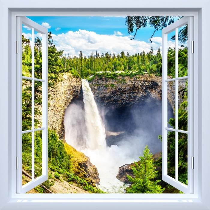 Papier peint vinyle Fenêtre ouverte blanche - Montagnes. Canada. - La vue à travers la fenêtre