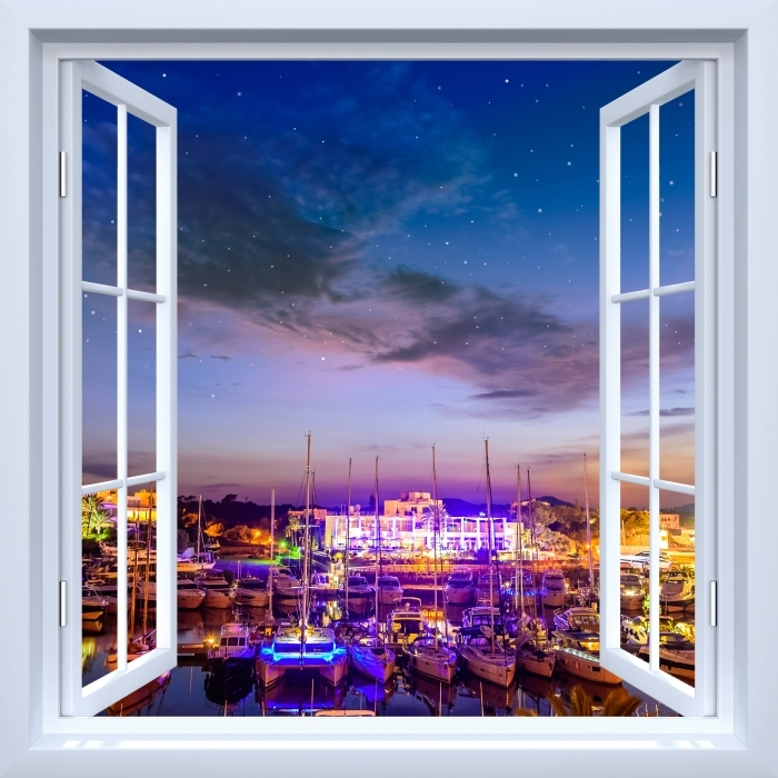 Papier peint vinyle Fenêtre ouverte blanche - Majorque. - La vue à travers la fenêtre