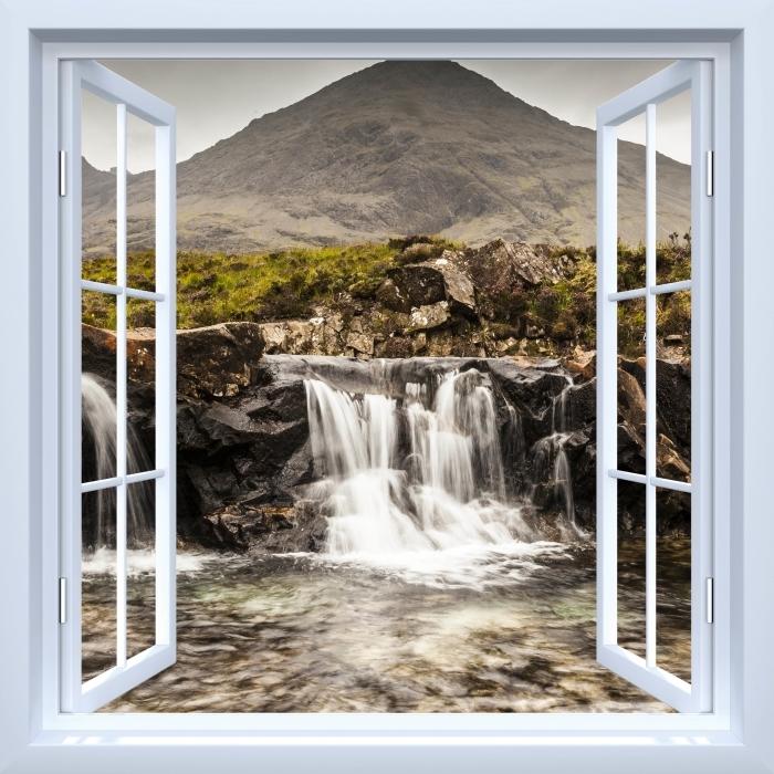 Papier peint vinyle Fenêtre ouverte blanche - piscines fée - La vue à travers la fenêtre