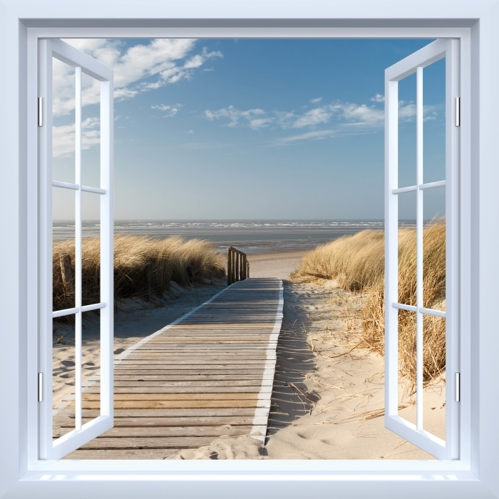 Papier peint vinyle Fenêtre ouverte blanche - Nordsee Strand auf Langeoog - La vue à travers la fenêtre