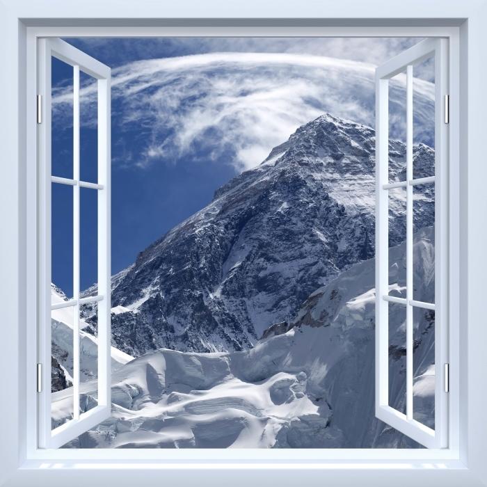 Papier peint vinyle Fenêtre ouverte blanche - le mont Everest - La vue à travers la fenêtre