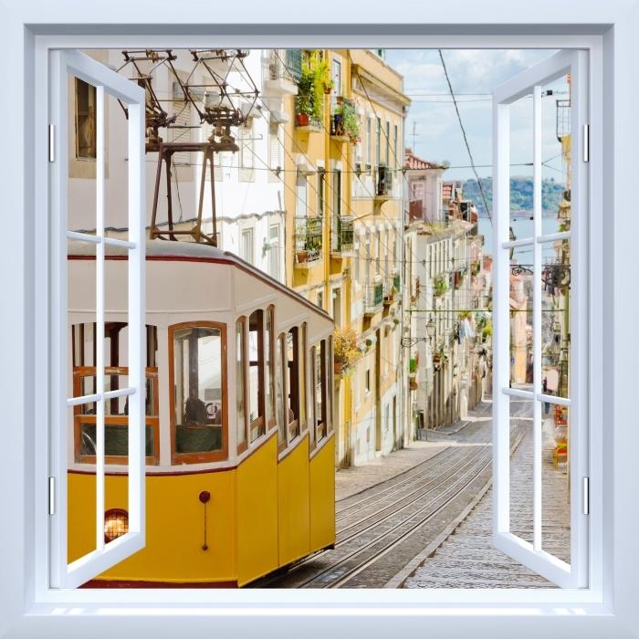 Papier peint vinyle Fenêtre ouverte blanche - Lisbonne. - La vue à travers la fenêtre