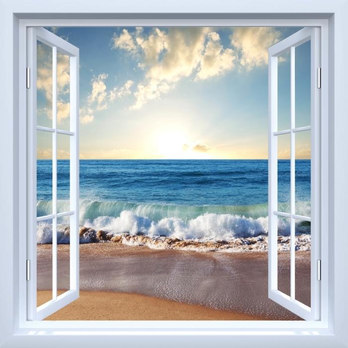 Fototapeta winylowa Okno białe otwarte - Morze. Zachód słońca. - Widok przez okno