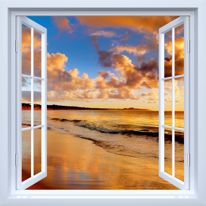 White open window - Sunset on the beach Vinyl Wall Mural - View through the window
