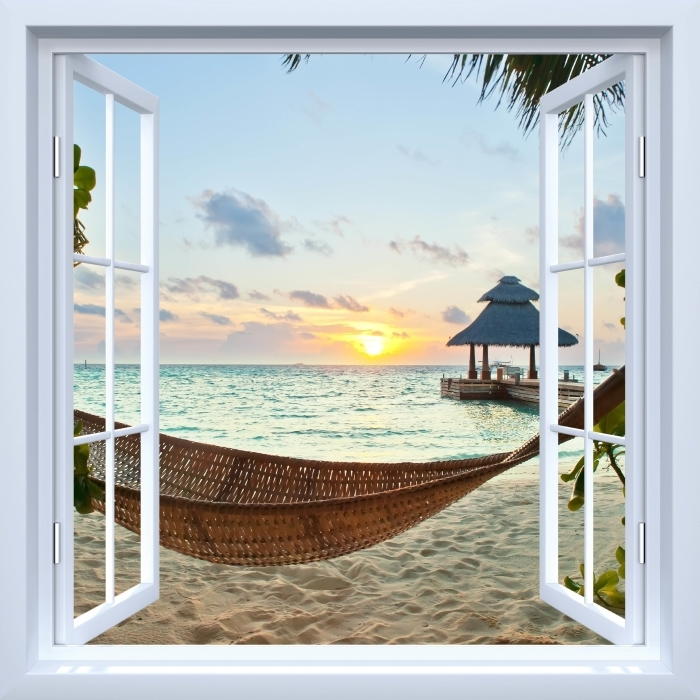 Fototapet av Vinyl Vit öppet fönster - hängmatta och sol - Se genom fönstret