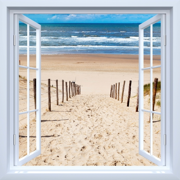 Fototapeta winylowa Okno białe otwarte - Droga do plaży - Widok przez okno