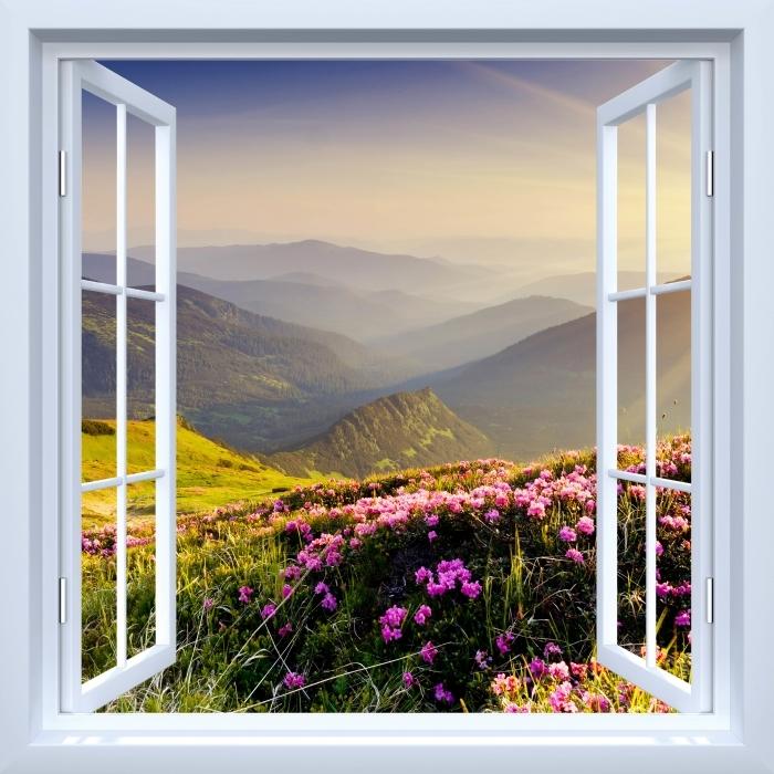 Vinyl Fotobehang White raam open - Mountain landschap - Uitzicht door het raam