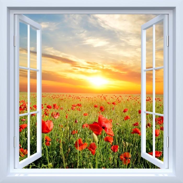Fototapeta winylowa Okno białe otwarte - Pole maku - Widok przez okno