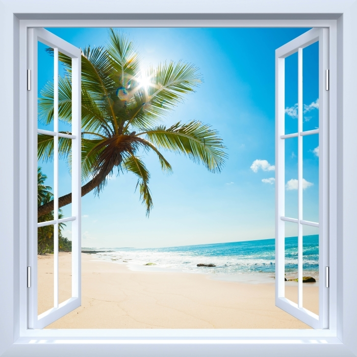 Papier peint vinyle Fenêtre ouverte blanche - plage tropicale - La vue à travers la fenêtre