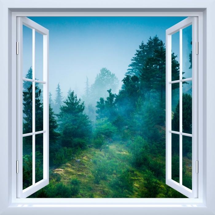 Fototapeta winylowa Okno białe otwarte - Mgła - Widok przez okno