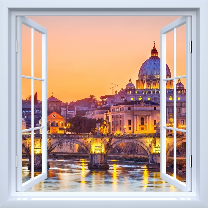 Fototapeta winylowa Okno białe otwarte - Katedra Świętego Piotra. Rzym - Widok przez okno