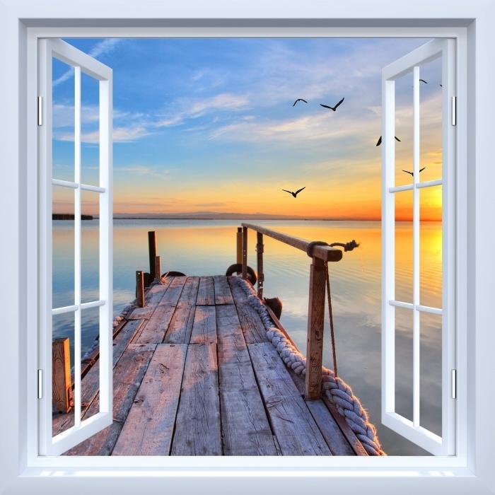 Vinyl-Fototapete Weiß Fenster geöffnet - See - Blick durch das Fenster
