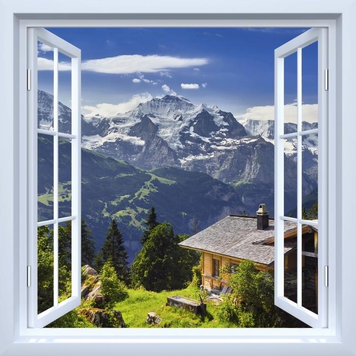 Papier peint vinyle Fenêtre ouverte blanche - Montagne - La vue à travers la fenêtre