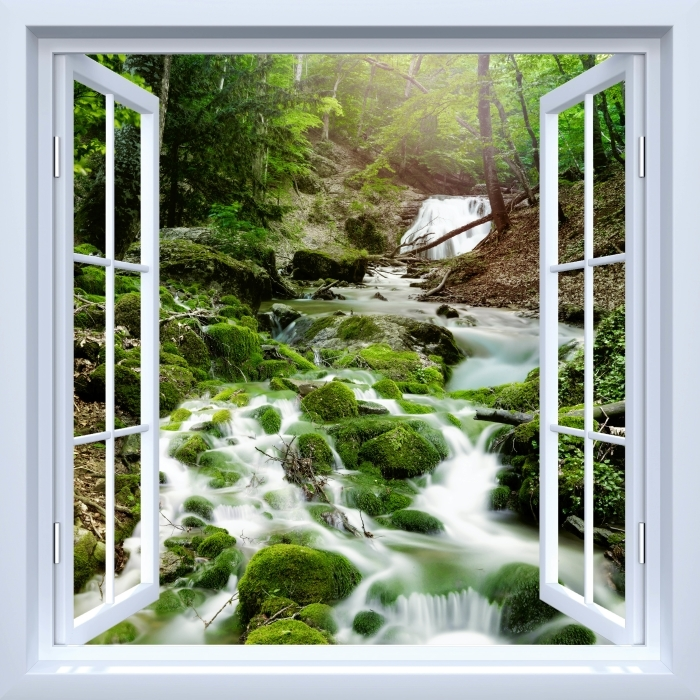 White open window - Forest and waterfall Vinyl Wall Mural - View through the window