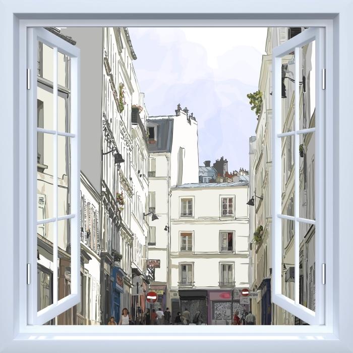 Fototapeta winylowa Okno białe otwarte - Paryż - Widok przez okno