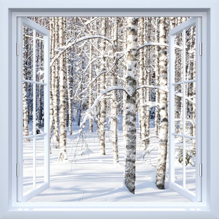 Papier peint vinyle Fenêtre ouverte blanche - bouleau neige - La vue à travers la fenêtre