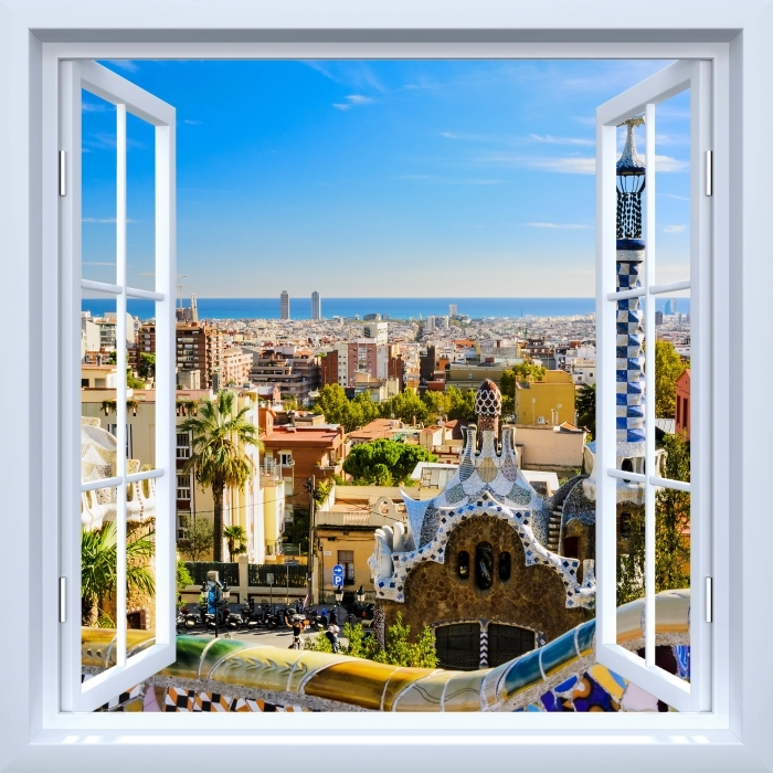 White window open - Park Guell in Barcelona. Spain. Vinyl Wall Mural - View through the window