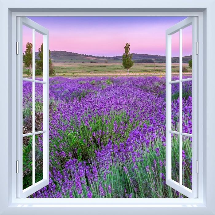 Fototapeta winylowa Okno białe otwarte - Zachód słońca. Węgry. - Widok przez okno