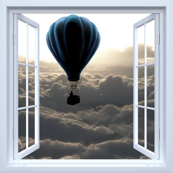 Papier peint vinyle Fenêtre ouverte blanche - Ballon dans le ciel - La vue à travers la fenêtre