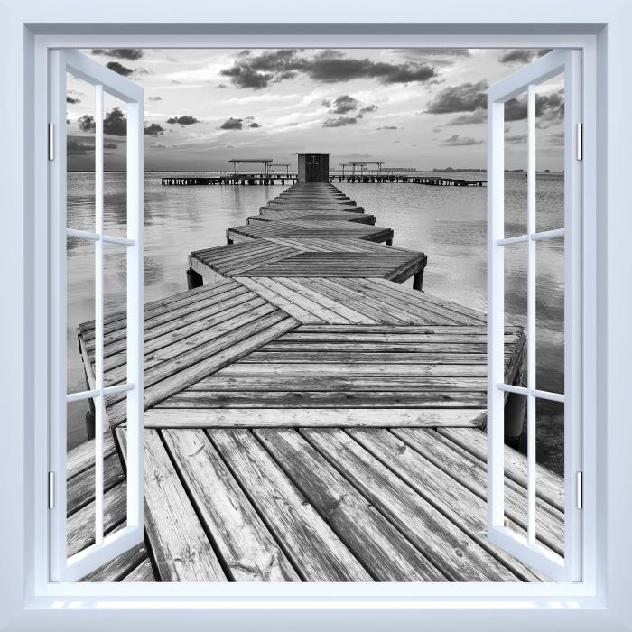 Papier peint vinyle Fenêtre ouverte blanche - Marina - La vue à travers la fenêtre