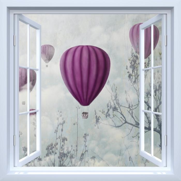 Papier peint vinyle Fenêtre ouverte blanche - Ballons dans le ciel - La vue à travers la fenêtre