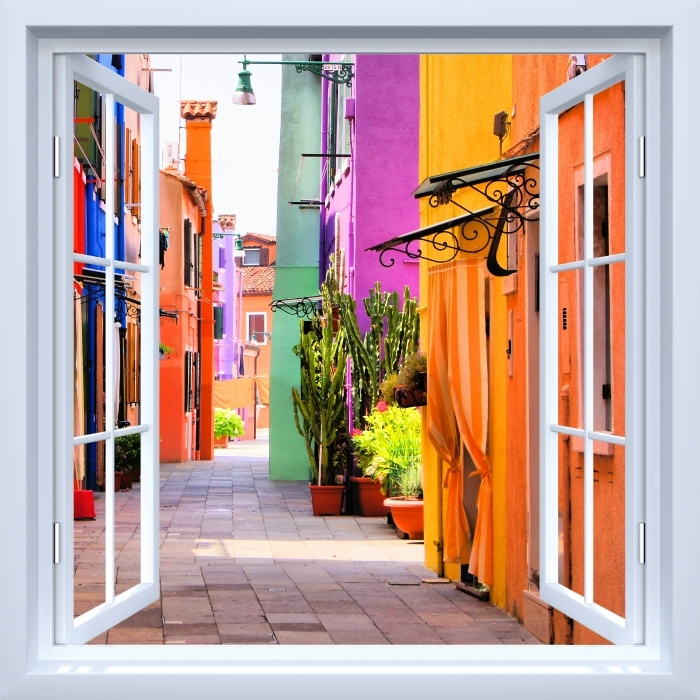 Vinyl Fotobehang White open raam - Kleurrijke straat in Burano. Italië. - Uitzicht door het raam