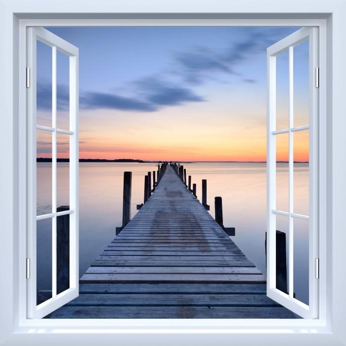 Papier peint vinyle Fenêtre ouverte blanche - Pier - La vue à travers la fenêtre
