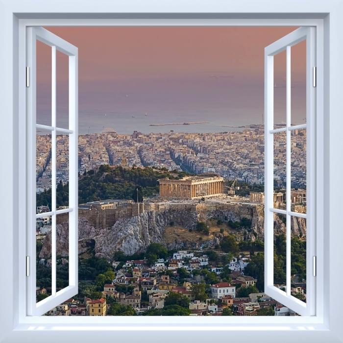 Papier peint vinyle Fenêtre ouverte blanche - Parthénon. Grèce - La vue à travers la fenêtre