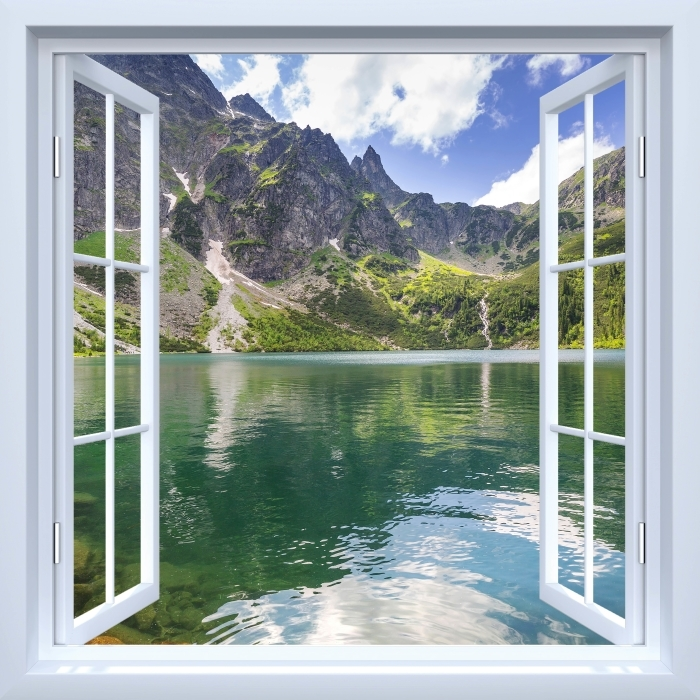 Fototapeta samoprzylepna Okno białe otwarte - Tatry - Widok przez okno