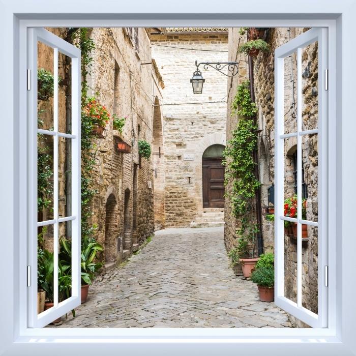 Papier peint vinyle Fenêtre ouverte blanche - Italie - La vue à travers la fenêtre